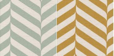 Au Maison Baumwollstoff Henri Verte pastellgrün oder Mustard senfgelb, Streifen mit Wellen