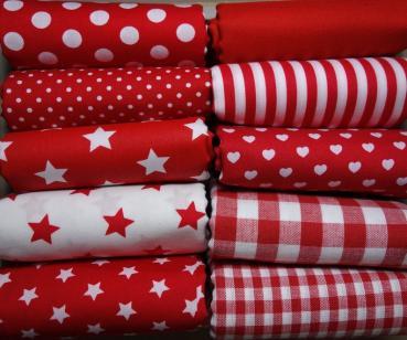 Baumwollstoff rot, Streifen Punkte Herzen Karo uni Sterne