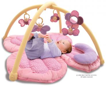 Schmetterlings Multi-Activity Erlebnisdecke Playmat & Gym - Krabbeldecke mit Spielbogen von Little Bird Told Me